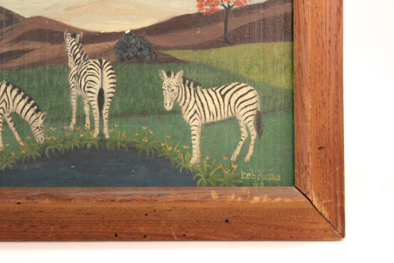 Painted Lawrence Lebduska American Folk Art Painting with Zebras For Sale