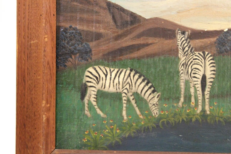 Lawrence Lebduska American Folk Art Painting with Zebras In Good Condition For Sale In New York, NY
