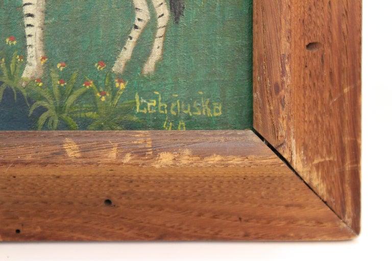 Mid-20th Century Lawrence Lebduska American Folk Art Painting with Zebras For Sale
