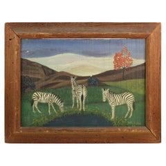 Lawrence Lebduska American Folk Art Painting with Zebras