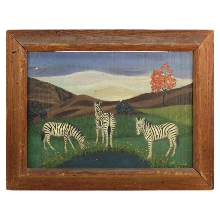 Lawrence Lebduska American Folk Art Painting with Zebras For Sale