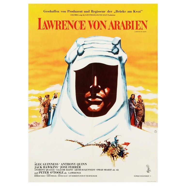'Lawrence of Arabia' Original Vintage Movie Poster, German, 1963 For Sale