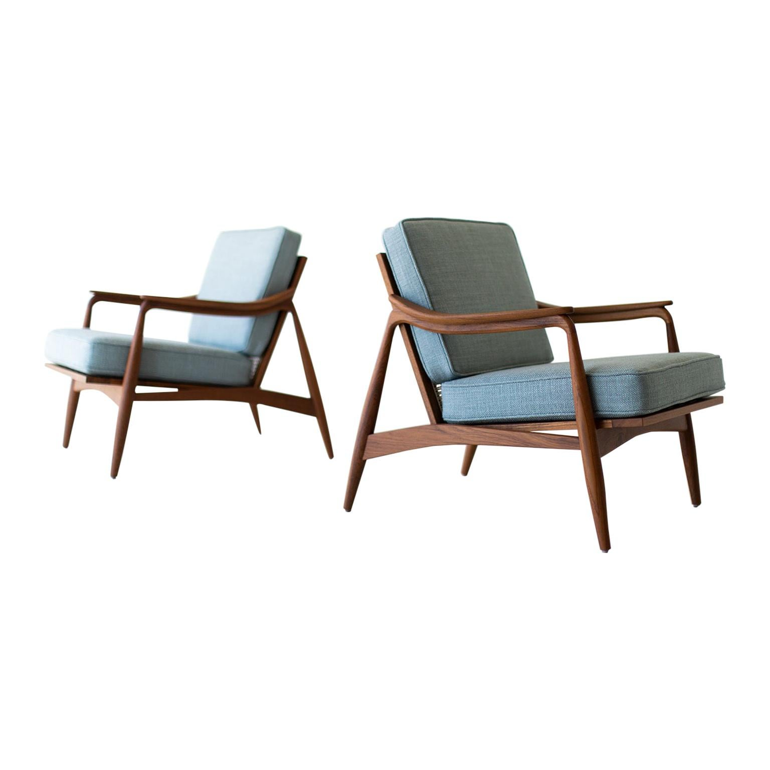 Lawrence Peabody Cane Back Teak Lounge Chairs for Craft Associates Furniture