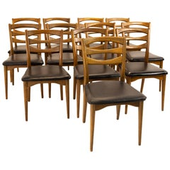 Lawrence Peabody for Nemschoff Model 300 MCM Walnut Dining Chairs, Set of 12