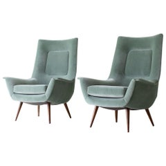 Lawrence Peabody High Back Lounge Chairs For Selig