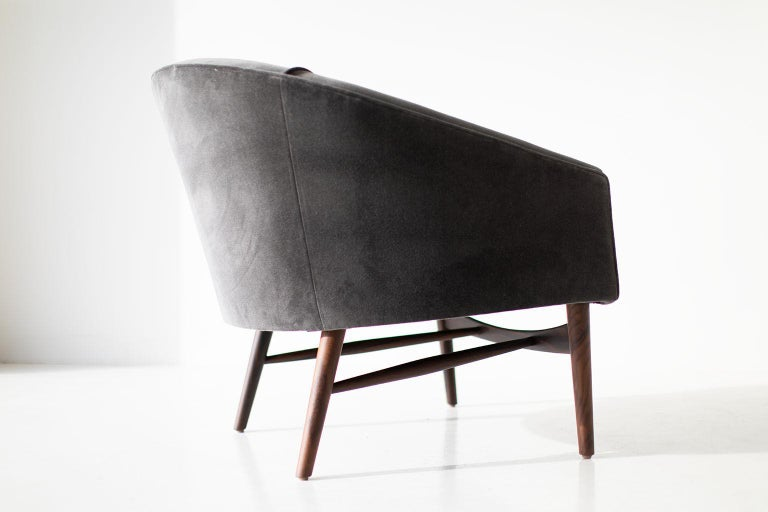 Designer: Lawrence Peabody  Manufacturer: Craft Associates Furniture Period/Model: Mid-Century Modern Specs: Ziricote, Velvet  This Lawrence Peabody lounge chair is expertly handcrafted and upholstered. These Peabody chairs are licensed