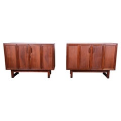 Lawrence Peabody Mid-Century Modern Walnut Cabinets or Large Bedside Chests