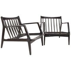Lawrence Peabody Mid Century Ebonized Lounge Chairs, Pair