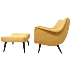 Lawrence Peabody Midcentury Lounge Chair and Ottoman, circa 1950s