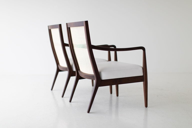 Contemporary Lawrence Peabody Modern Cane Back Armchairs for Craft Associates For Sale
