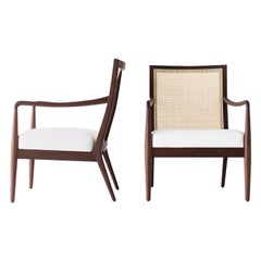 Lawrence Peabody Modern Cane Back Armchairs for Craft Associates