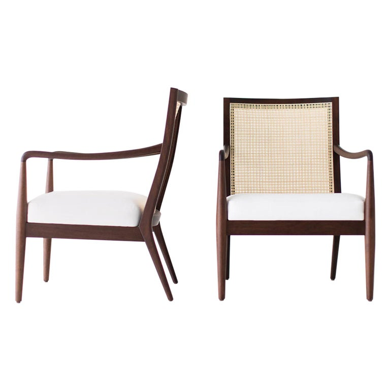 Lawrence Peabody Modern Cane Back Armchairs for Craft Associates For Sale