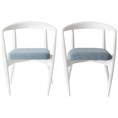 Lawrence Peabody Modern White Dining Chairs for Craft Associates Furniture