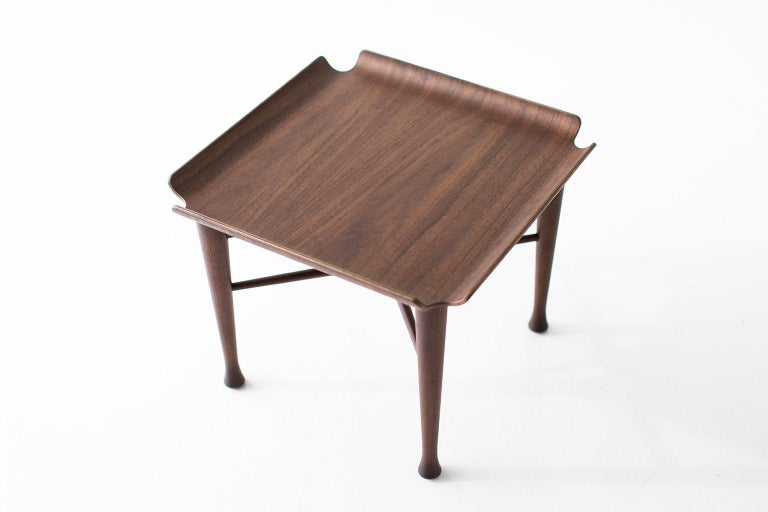 Lawrence Peabody Walnut Side Table for Craft Associates Furniture For Sale 1