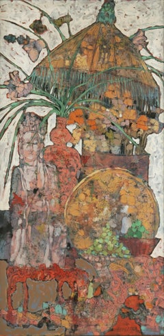 East Wind -- Bohemian Still Life with Fringed Lamp and Statue