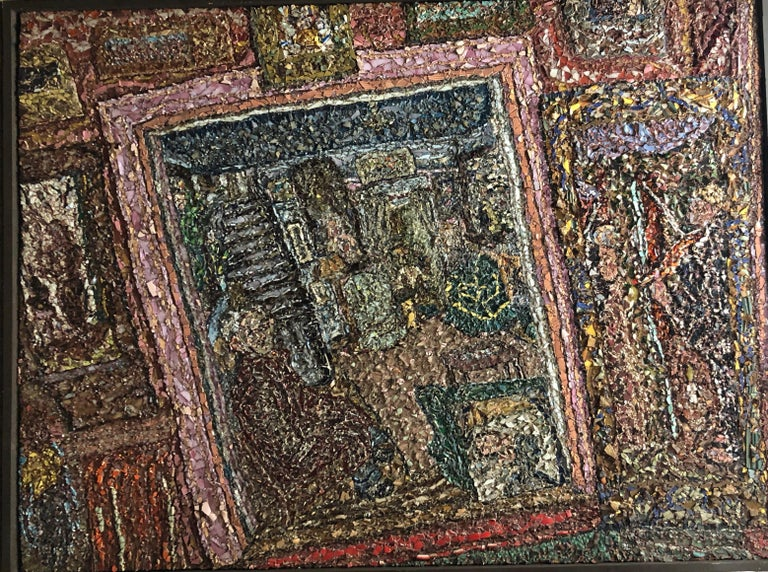 Large American Folk Art Masterpiece Glass Mosaic Sculpture Painting Wall Hanging - Black Interior Painting by Lawrence Rothbort