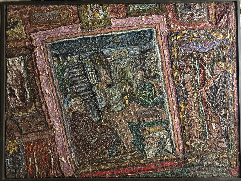 Titled: Pop (Samuel Rothbort) in our living room. Bears estate stamp of his father, famed American folk artist Samuel Rothbort. one of only about 10 in total large scale mosaics that he did, each one took many months. very complicated intricate work