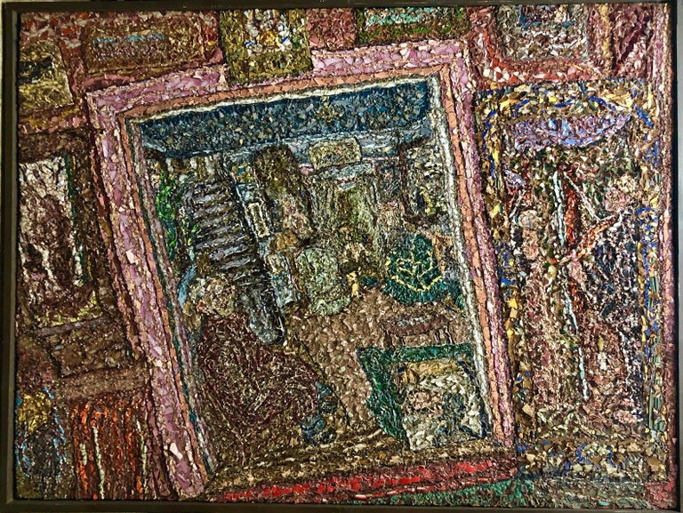 Large American Folk Art Masterpiece Glass Mosaic Sculpture Painting Wall Hanging For Sale 1