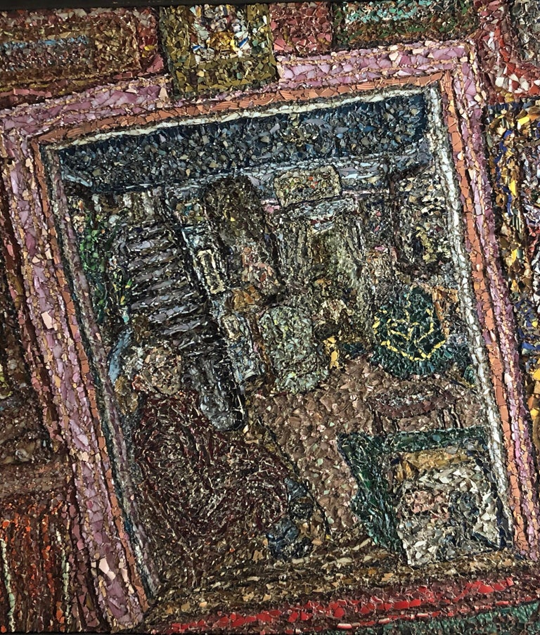 Large American Folk Art Masterpiece Glass Mosaic Sculpture Painting Wall Hanging For Sale 2