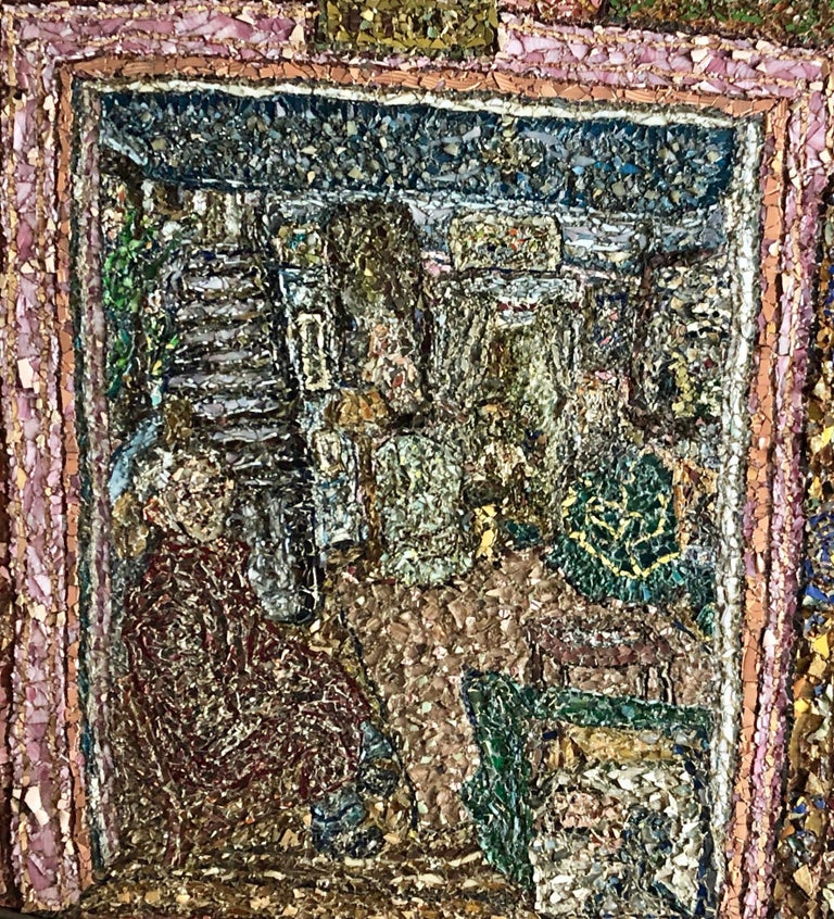 Large American Folk Art Masterpiece Glass Mosaic Sculpture Painting Wall Hanging For Sale 3
