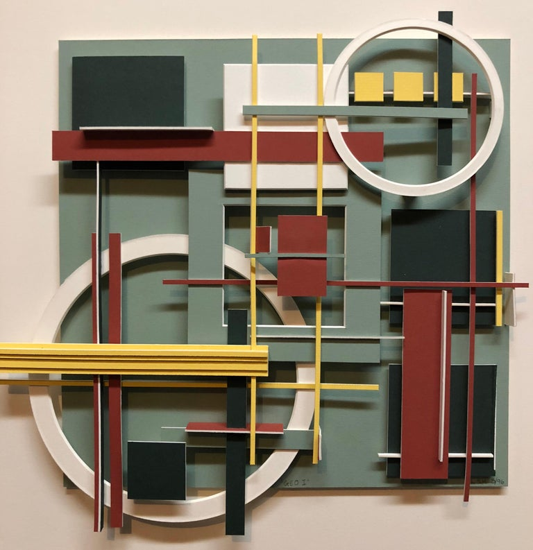 Construction Assemblage of mat board or Bristol board. titled Geo 1 and signed and dated verso.  Lawrence Saul Heller, (Larry Heller) (American, born 1965) Born Great Neck, NY Kent State University School of Architecture Kent, OH Practicing