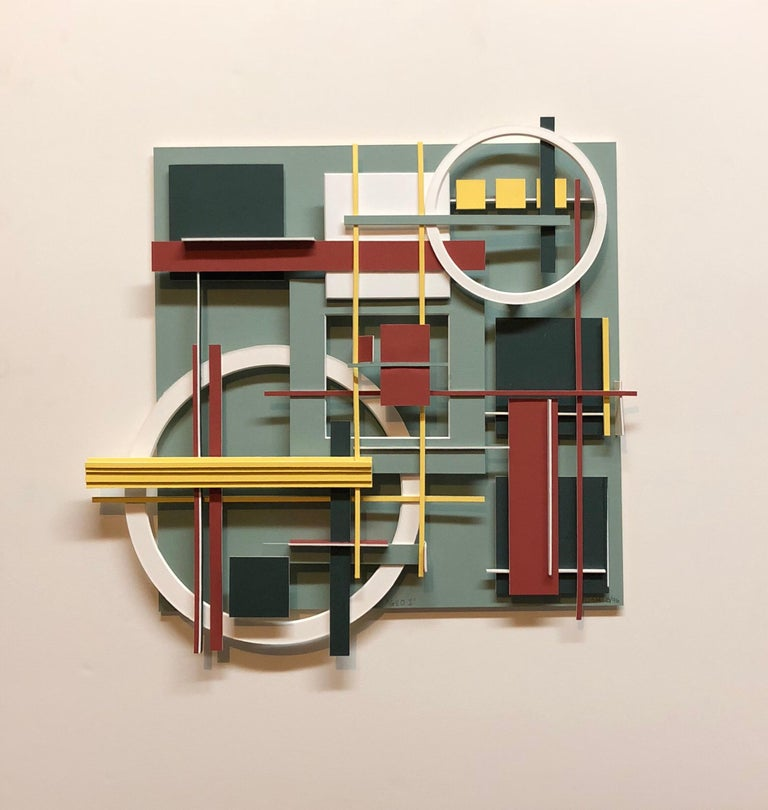 Geometric Abstract Painted Wall Hanging Constructivist Architectural Sculpture For Sale 1