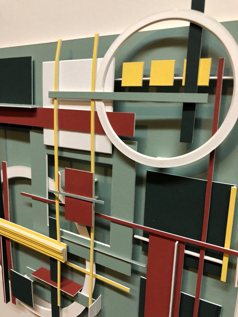 Geometric Abstract Painted Wall Hanging Constructivist Architectural Sculpture For Sale 2