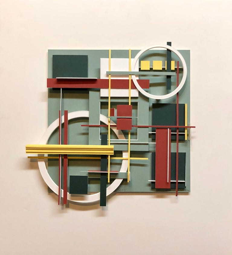 Geometric Abstract Painted Wall Hanging Constructivist Architectural Sculpture - Mixed Media Art by Lawrence Saul Heller
