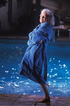 Marilyn Monroe Color Photograph in Blue Robe by Lawrence Schiller
