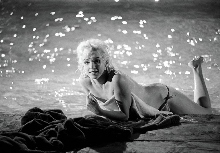 Marilyn Monroe Photograph Lying Poolside by Lawrence Schiller, 32 For Sale 1