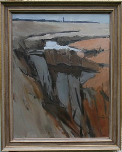Essex Landscape - British 20th century Abstract art landscape oil painting