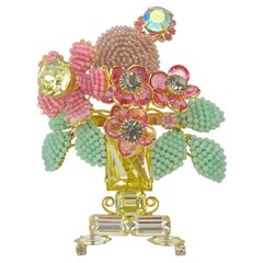 Lawrence Vrba 1980s Gold Tone En Tremblant Vase Flower Beads Rhinestones Brooch