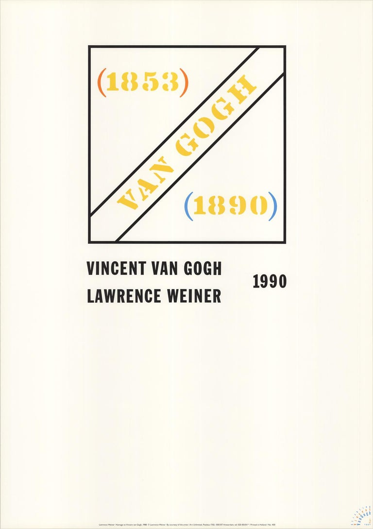 Lawrence Weiner Abstract Print - Homage to Vincent Van Gogh
