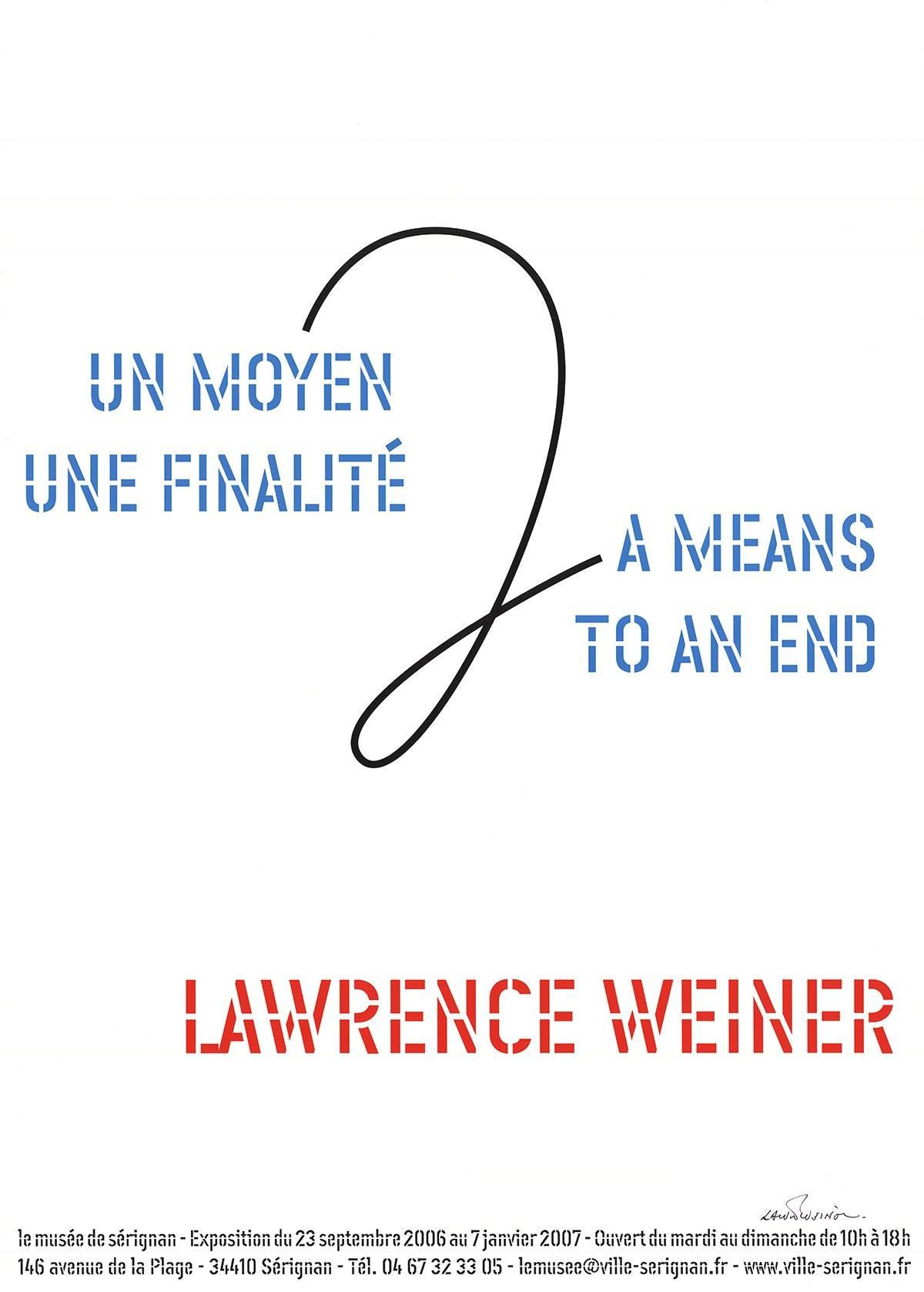 """Lawrence Weiner-A Means To An End-27.5"""" x 19.5""""-Offset Lithograph-2006"""