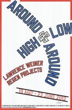 """LAWRENCE WEINER Around and Around High and Low SIGNED 35"""" x 23"""" Offset"""