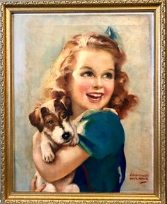 1930s Vintage Oil Painting Girl, Puppy Dog, American Illustrator Lawrence Wilbur
