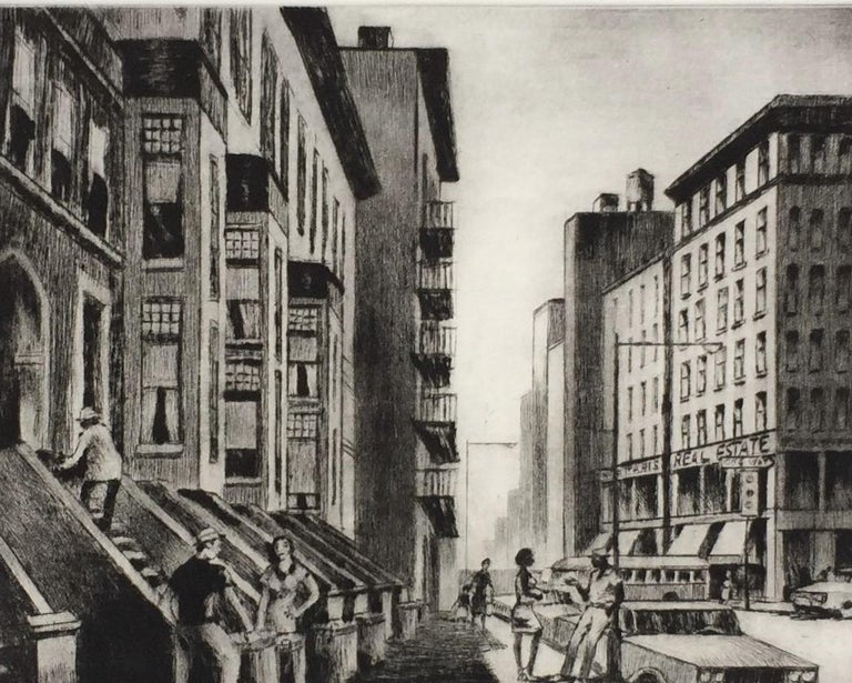 Old Brownstones-- New York. c. 1985. Etching and drypoint. 8 7/ 8 x 12 1/3 (sheet 16 5/8 x 16 1/4).  Fourth state.  Printed on cream wove paper, on the full sheet with deckle edges.  A rich impression in pristine condition, housed in an archival