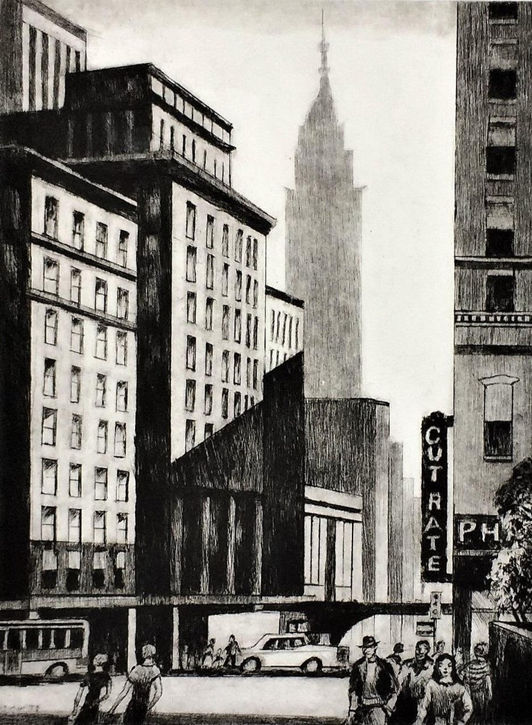 The Spire -- New York - Gray Figurative Print by Lawrence Wilbur