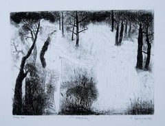 "Forest, Etching on Paper, Black, White by Modern Indian Artist ""In Stock"""