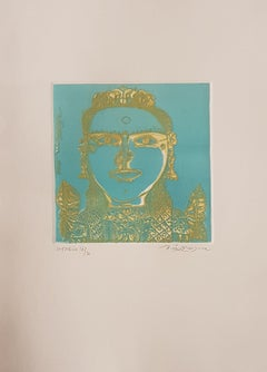 """Unique South Indian Woman, Etching on paper, Green,Gold, Modern Artist""""In Stock"""""""