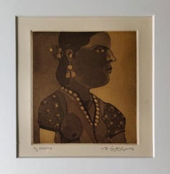 """Untitled, Etching on paper, Modern Indian Artist """"In Stock"""""""