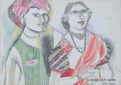 """Couple, Villagers, Watercolor on Paper, Pink, Green by Modern Artist """"In Stock"""""""