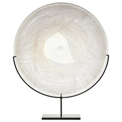Layer on Layer, a Unique Gold, Grey and Clear Glass Sculptural Plate, Kate Jones