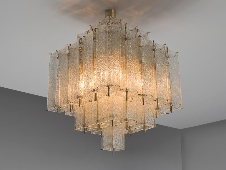 Mid-Century Modern  Layered Brass and Structured Glass Chandelier For Sale