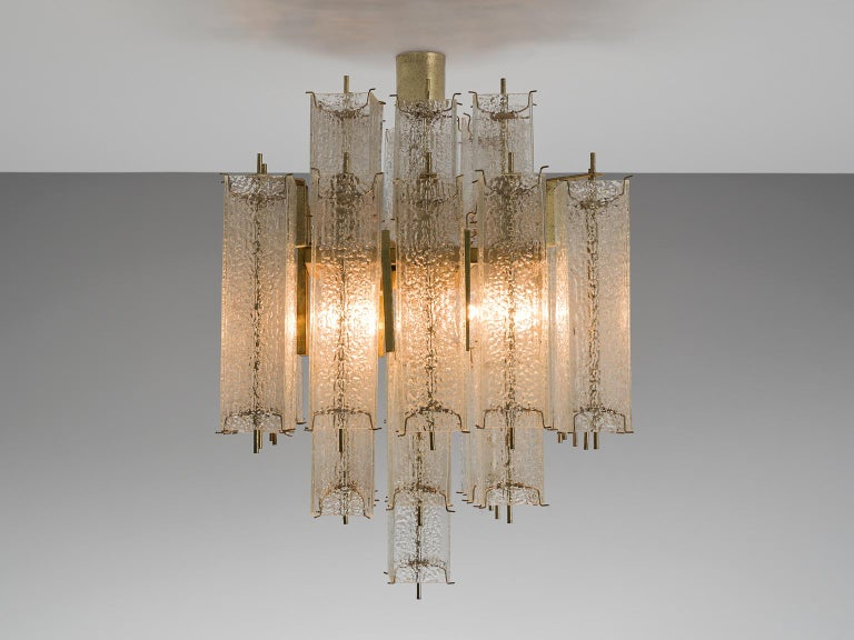 European  Layered Brass and Structured Glass Chandelier For Sale