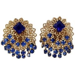Layered Filigree Sapphire Crystal Cluster Clip on Earrings in Gold, Mid 1900s