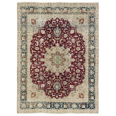 Layered Floral Medallion Antique Persian Mashad Rug in Red, Blue and Cream