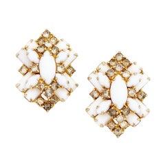 Layered Milk Glass & Rhinestone Statement Earrings, 1950s
