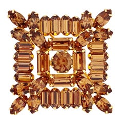Layered Square Topaz Crystal Brooch By Weiss, 1950s