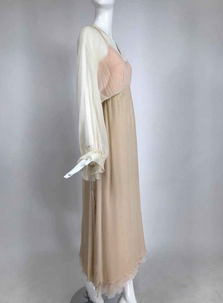 Beige Layered Tone on Tone Silk Chiffon Poet Sleeve Maxi Dress 1970s For Sale